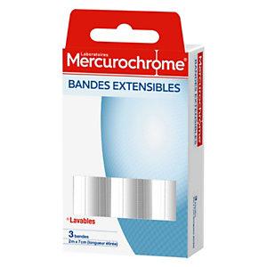 Mercurochrome Bande  Extensible - 2 m x 7 cm  - Boite de 3 bandes