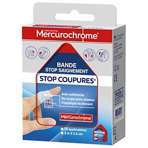 Mercurochrome Bande de pansement stop saignement, Stop Coupures - 3 m x 2,5 cm
