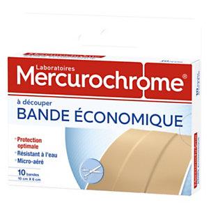Mercurochrome Pansement  Bandes à découper - Eco - 10 cm x 6 cm - Boite de 10 bandes