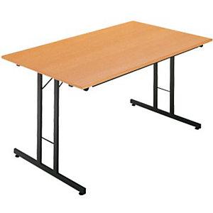 Mesa plegable 120 x 80 haya / patas negras Multiuso