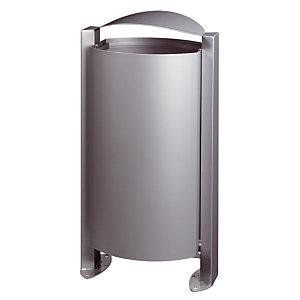 Metalen vuilnisbak op voet 100 L grijs metaal