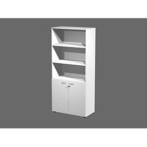 Meuble haut H.200 cm Wood 2 portes basses Blanc