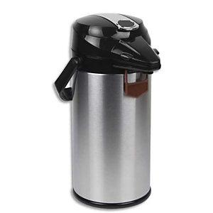 MIKO CAFE Pichet isotherme à pompe en inox, intérieur verre, poignée de transport capacité 1,9 Litres