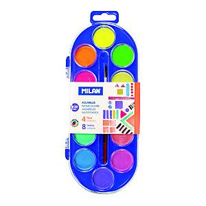 MILAN Acuarelas colores fluo y metalizados, estuche de plástico, 12 colores