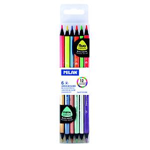 MILAN Lápices bicolor colores fluorescentes + metalicos triangulares, trazo fino, 12 colores surtidos