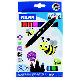 MILAN Maxi rotulador punta de fibra bicolor, punta cónica 1 - 3,25 mm, colores surtidos