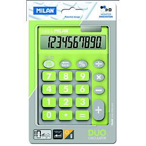 MILAN Milan Blíster calculadora Duo verde 10 dígitos teclas grandes
