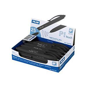 MILAN P1 Touch, Bolígrafo retráctil de punta de bola, tinta de aceite, punta de 1 mm, cuerpo gomoso negro, tinta negra