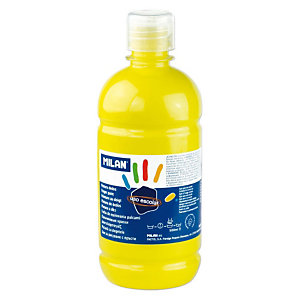 MILAN Pintura de dedos escolar botella de 500 ml. amarilla