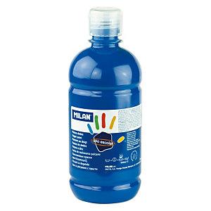 MILAN Pintura de dedos escolar botella de 500 ml. azul