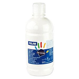 MILAN Pintura de dedos escolar botella de 500 ml. blanca