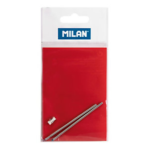 MILAN Recambios para Bolígrafo retráctil con 4 funciones, tinta azul, roja y una goma de borrar