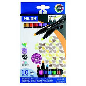MILAN Rotulador punta de fibra bicolor, punta cónica 0,75 - 3 mm, colores surtidos
