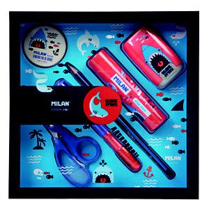 MILAN Shark Attack azul y rojo Caja con 6 productos: 1 goma de borrar, 1 lápiz, 1 bolígrafo, 1 barra de pegamento, 1 tijeras y 1 afilaborra