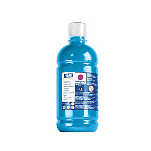 MILAN Témpera escolar botella de 500 ml. azul cyan
