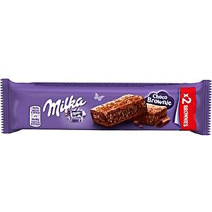 Milka Choco Brownie - Gâteau moelleux au chocolat au lait avec des pépites - Sachet de 2