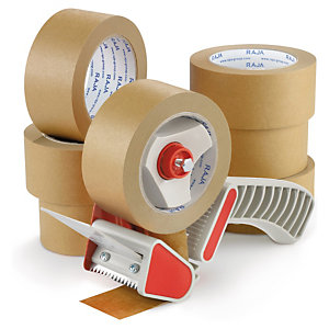 Self-adhesive paper tape can be applied from a dispenser
