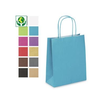 Mini-sac couleur à poignées torsadées##Minidraagtas van gekleurd kraftpapier