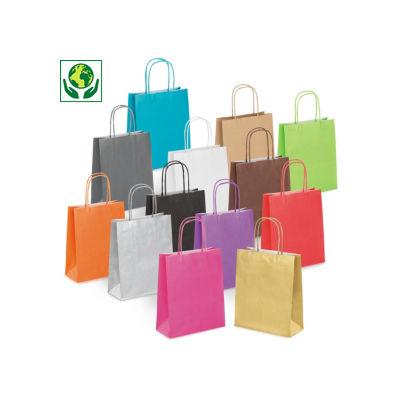 Mini sac kraft couleur à poignées torsadées
