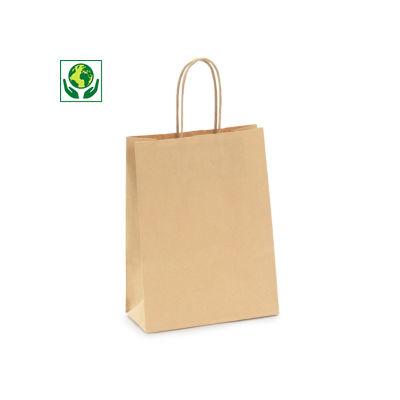 Mini-saco de papel kraft castanho e branco