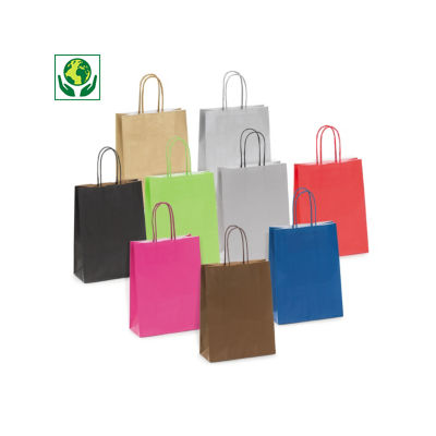Mini-saco de papel kraft de cor