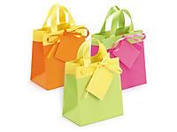 Mini shopper lusso bicolore con nastro in satin