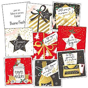Minibiglietto Natale, 8 x 8 cm, Soggetti Natalizi assortiti (confezione 12 pezzi)