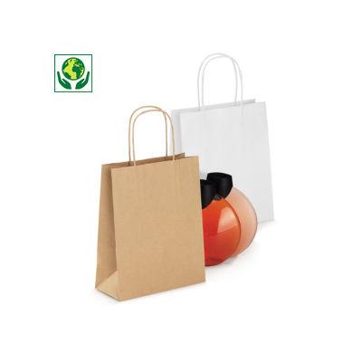 Mini sac kraft à poignées torsadées##Minidraagtas van kraftpapier
