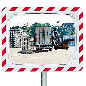 Miroir de circulation Vialux® polymir rouge et blanc 40 x 60 cm