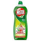 MISTOL Ultra Plus, Lavavajillas Concentrado Cítricos Verde, 650 ml, Extra Desengrasante y Limpieza manual, Tapón Push Pull