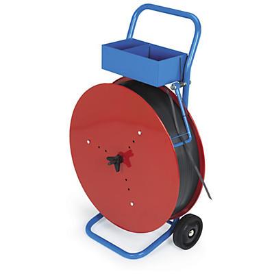 Chariot-dévidoir mobile pour feuillards polypropylène, composite ou textile##Mobiele haspel voor rollen polypropyleen-, composiet- of textielomsnoeringsband