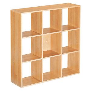 Module bibliothèque Multicases Classique -  9 cases - Hêtre