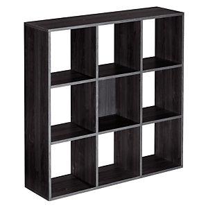 Module bibliothèque Multicases Classique -  9 cases - Noir