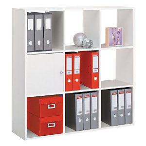 Module bibliothèque Multicases Color -  9 cases - Blanc