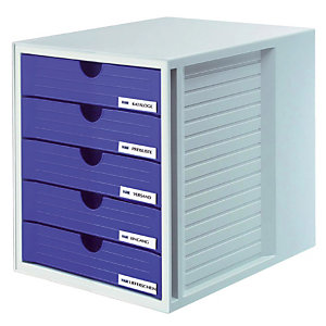 Module System-box 5 tiroirs fermés Han coloris gris/bleu