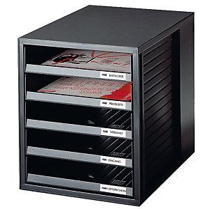 Module System-box met 5 open laden Han kleur zwart