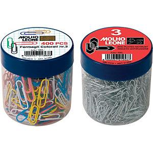 MOLHO LEONE Fermagli colorati in barattolo - Dimensioni 28 mm (confezione 400 pezzi)