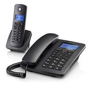 Motorola C4201 Combo Teléfono de sobremesa + inalámbrico, pantalla retroiluminada, negro