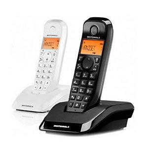 Motorola Dúo S12 Teléfono inalámbrico, pack de 2, negro y blanco