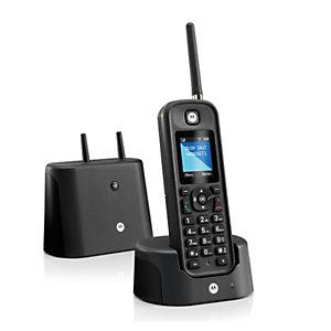 Motorola O201 Teléfono digital inalámbrico de largo alcance, negro