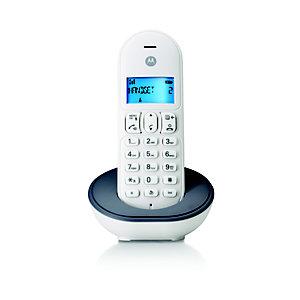 Motorola T101 Teléfono digital inalámbrico, blanco y gris