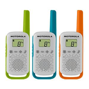 Motorola Talkabout T42 Triple pack Walkie-talkies, pantalla LCD, hasta 4 km, verde/azul/naranja y blanco