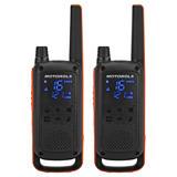 Motorola Talkabout T82 Walkie-talkies, pantalla oculta, hasta 10 km, negro y naranja