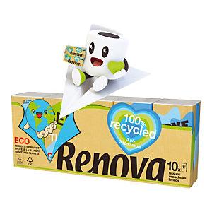 Mouchoirs Renova 100% recyclé, paquet de 10 étuis de 9 mouchoirs