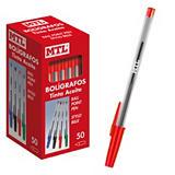 MTL® Bolígrafo de punta de bola, punta mediana 1 mm, cuerpo transparente, tinta roja