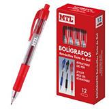 MTL® Bolígrafo retráctil de tinta de gel, punta de 0,7 mm, cuerpo transparente con grip, tinta roja
