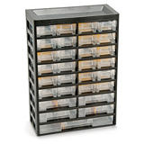 Multi-drawer small parts storage cabinets