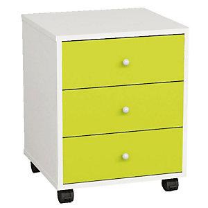 Multicolor Cassettiera a 3 cassetti, con ruote, Bianco e Verde<BR>