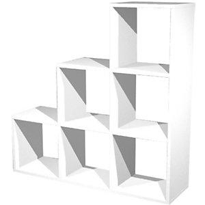 Multicolor Libreria componibile a 6 caselle a scalare, dimensioni 104,1 x 29,2 x 103,9 cm, colore Bianco