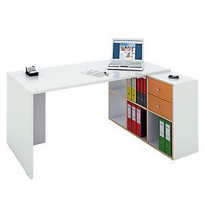 Multicolor Postazione lavoro scrivania + libreria a 6 caselle, Bianco